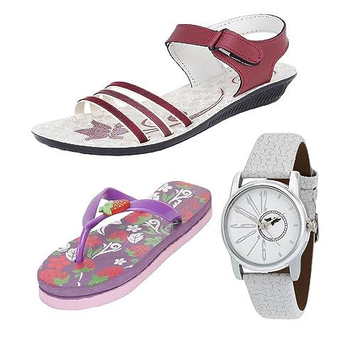 ffe825c7ea25ba Earton Women Combo Pack of 3 Sandal With Flip-Flops   Watch (5 UK ...