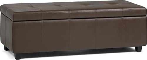 Simpli Home Castleford 48 inch Wide Rectangle Storage Lift Top Ottoman