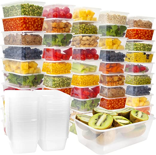 50 Plastic Food Storage Containers With Lids Plastic Food Containers Meal Prep Containers Food Prep Freezer Containers With Lids Plastic