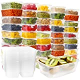 Plastic Food Storage Containers with Lids - Disposable Plastic Food Containers Meal Prep Containers Food Prep Freezer Containers with Lids [50 Pack]