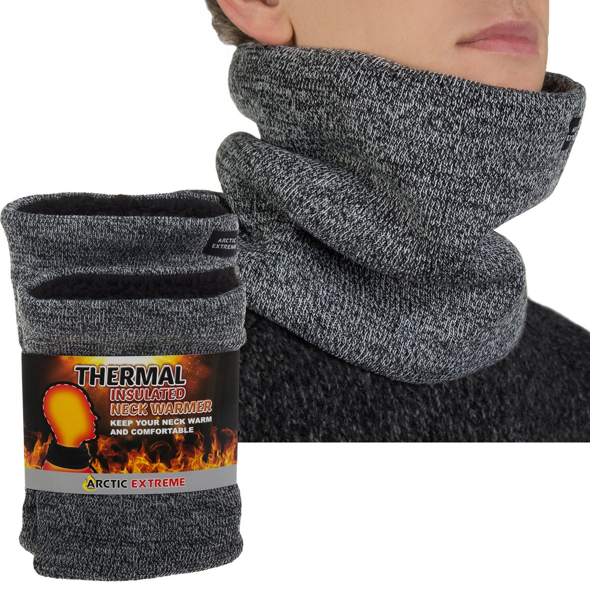 2 Pack Arctic Extreme Thick Heat Trapping Thermal Insulated Fleece Lined Neck Warmers Gaiters Unisex Cold Weather Gear Winter Face Mask