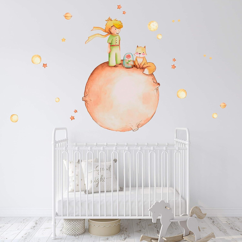 60x60 cm Habitaci/ón Infantil Autoadhesivo de f/ácil colocaci/ón Vinilo Decorativo Infantil El Principito con Planetas y Estrellas