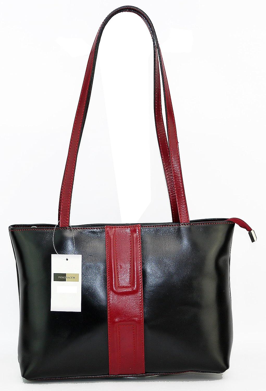 Cuero italiano, negro mango largo ancho rojo raya Vertical diseño bolso o bandolera. Incluye una bolsa protectora marca.: Amazon.es: Zapatos y complementos