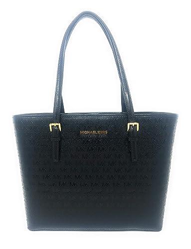 ecbd7e4176eabf Amazon.com: Michael Kors Jet Set Travel MD Carryall Tote,Patent  Leather,Black: Shoes