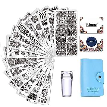 Biutee Nail Art Stamping 15pcs Placas Estampacion Uñas para Manicura +1pcs Sello de Silicona +2 pcs Rascador +1 pcs Bolsa para Placas(Color al azar)