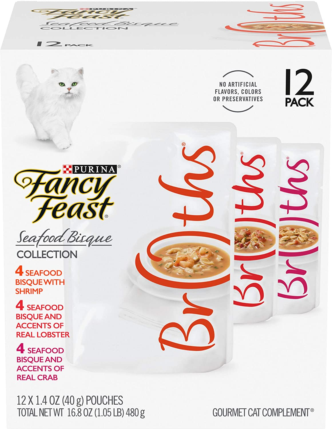 Purina Fancy Feast Broths Creamy Flavors Adult Wet Cat Food Complement