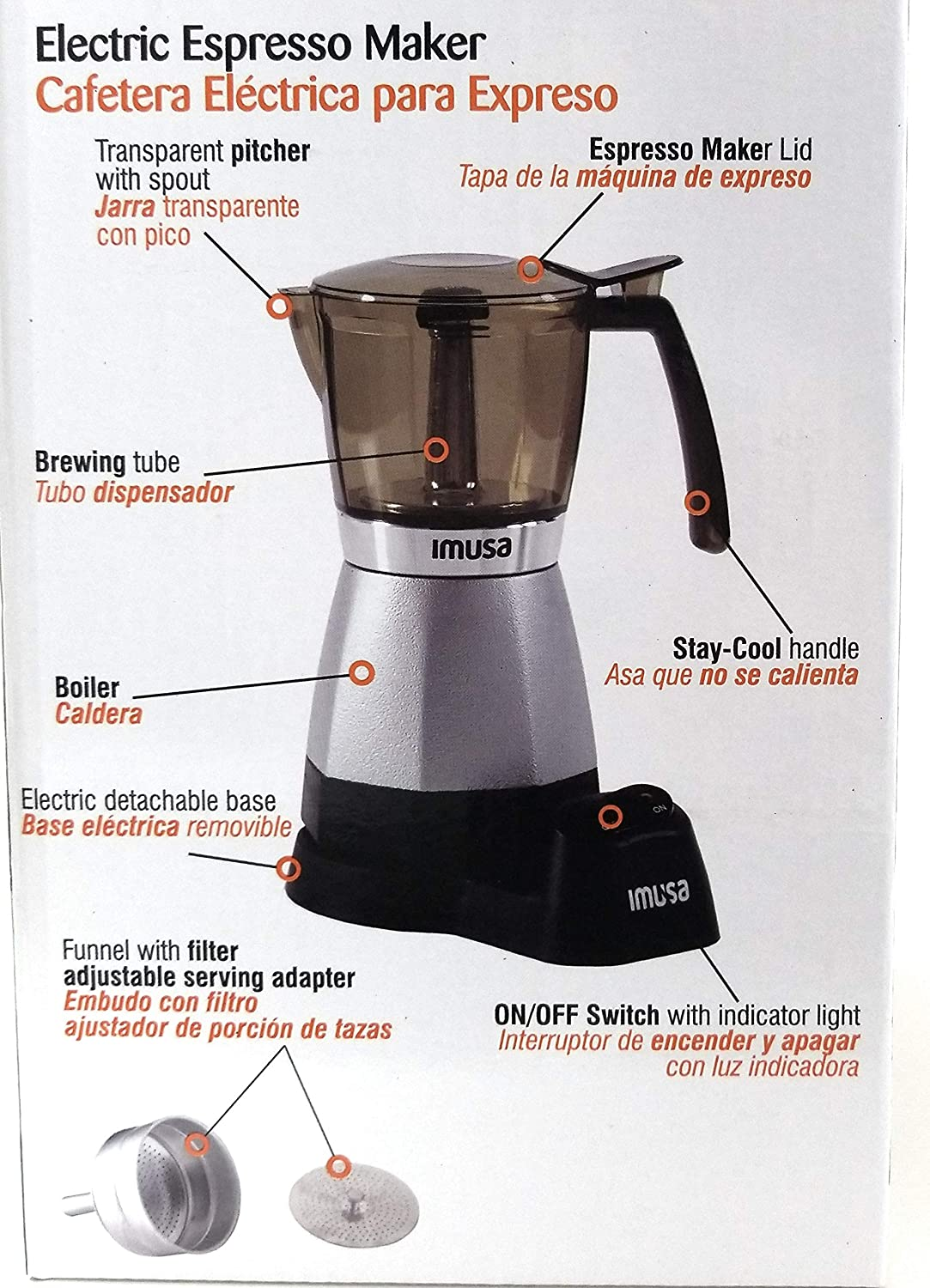 Amazon.com: IMUSA USA B120-60006 Electric Coffee/Moka Maker 3-6-Cup (Silver): Kitchen & Dining