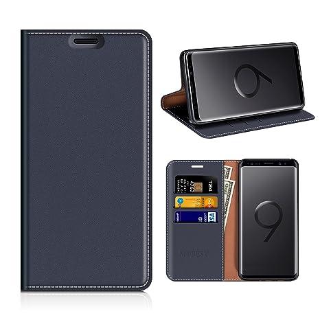 MOBESV Funda Cartera Samsung Galaxy S9, Funda Cuero Movil Samsung S9 Carcasa Case con Billetera/Soporte para Samsung Galaxy S9 - Azul Oscuro