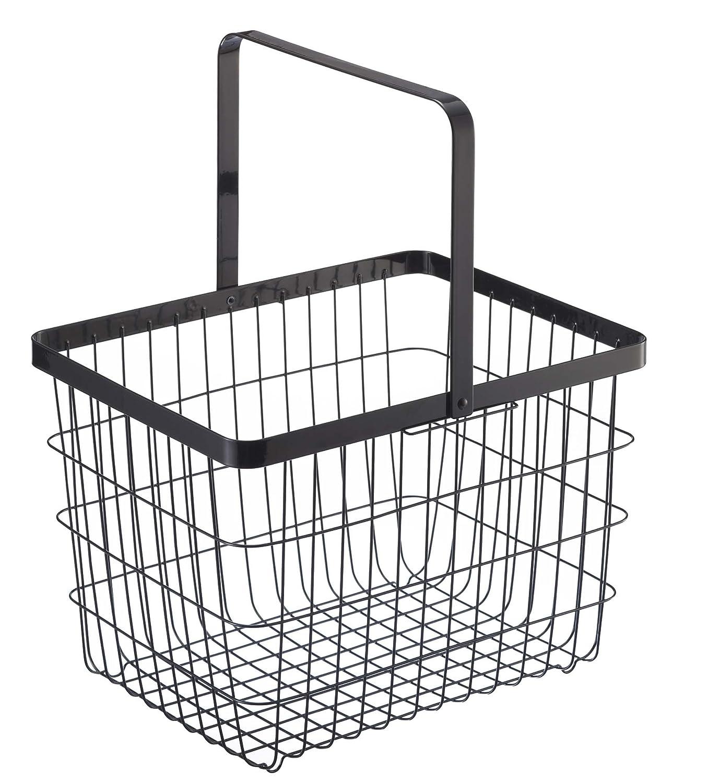 Medium Yamazaki Laundry Basket Wooden Handles White