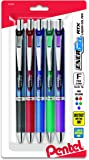 Pentel EnerGel RTX Retractable Liquid Gel Pen, 0.5mm, Metal Tip, Assorted Ink, Pack of 5 (BLN75BP5M)