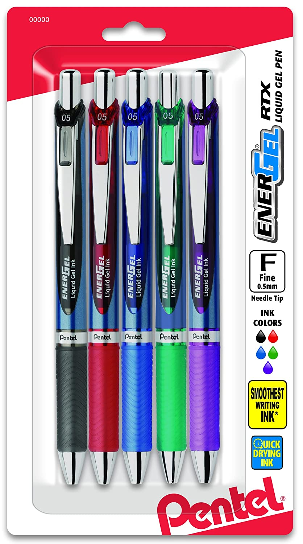Pentel EnerGel Deluxe RTX Gelschreiber, einziehbar 5er-Pack 0.5mm Needle sortiert B002VL52OK | Genial