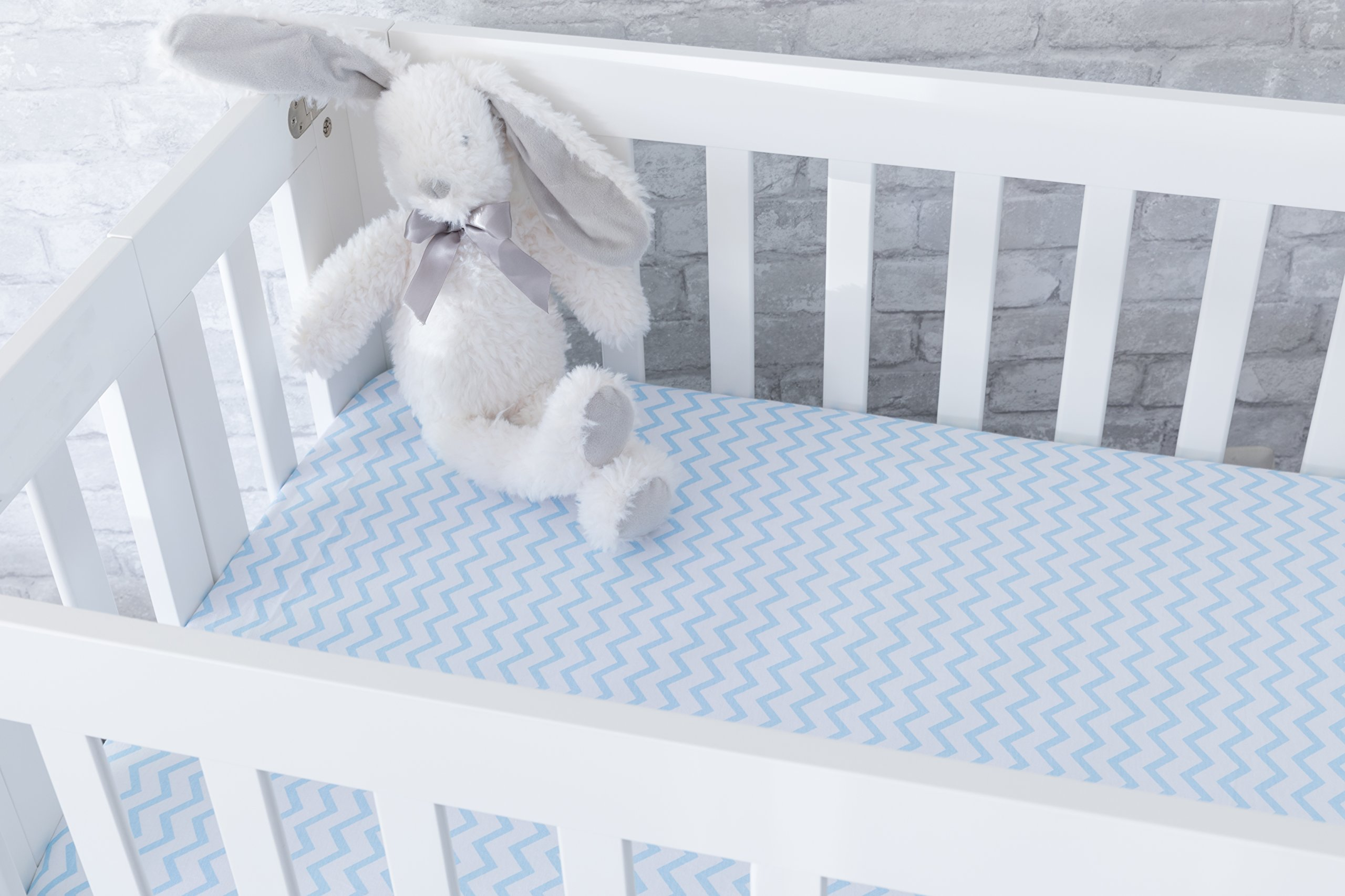 Pack N Play Portable Crib / Mini Crib Sheet Set 100% Jersey Cotton for Baby Boy by Ely's & Co. - Blue Chevron and Polka Dot 2 Pack by Ely's & Co (Image #6)