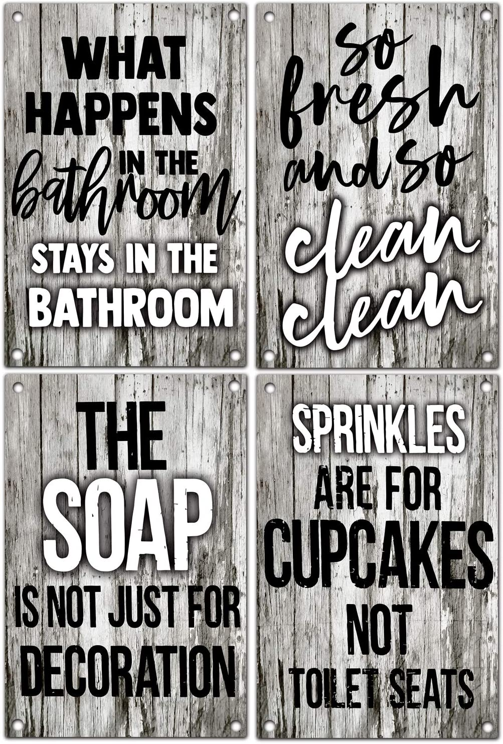 vizuzi Funny Metal Tin Sign Vintage Farmhouse Bathroom Humor Signs, Decor for Home, Restaurant, or Business, Pack of 4