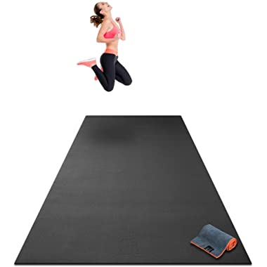 Premium Extra Large Exercise Mat - 10' x 4' x 1/4  Ultra Durable, Non-Slip, Workout Mats for Home Gym Flooring - Plyo, MMA, Cardio Mat - Use with or Without Shoes (120  Long x 48  Wide x 6mm Thick)