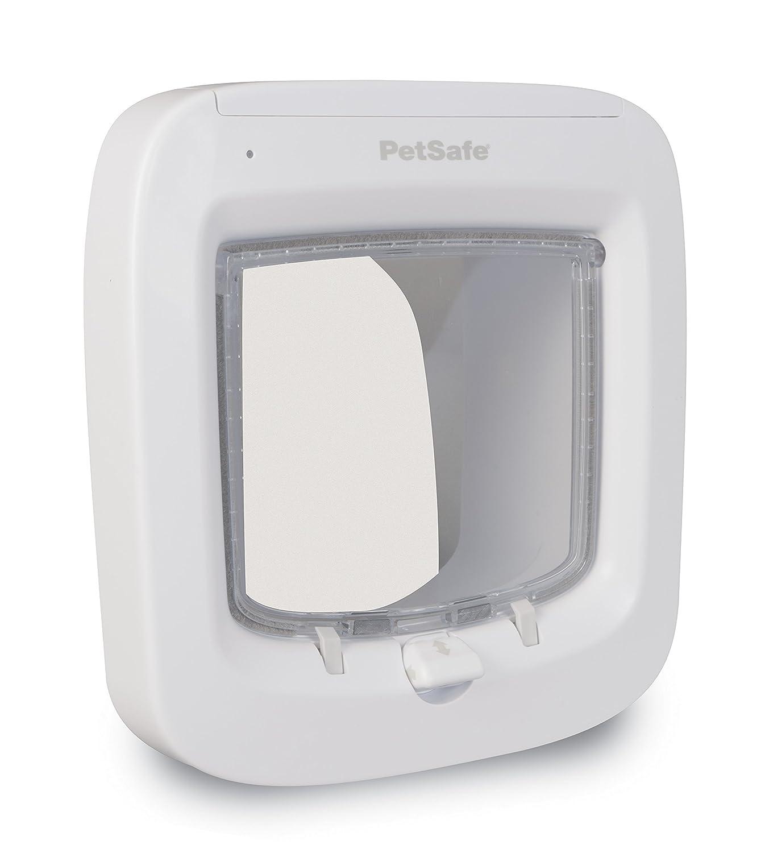 PetSafe - Chatière à Puce électronique pour Chat avec Micropuce, Robuste, Système de Verrouillage à 4 Positions, Fonctionne à Piles, Facile à Installer - Blanc PPA19-16145