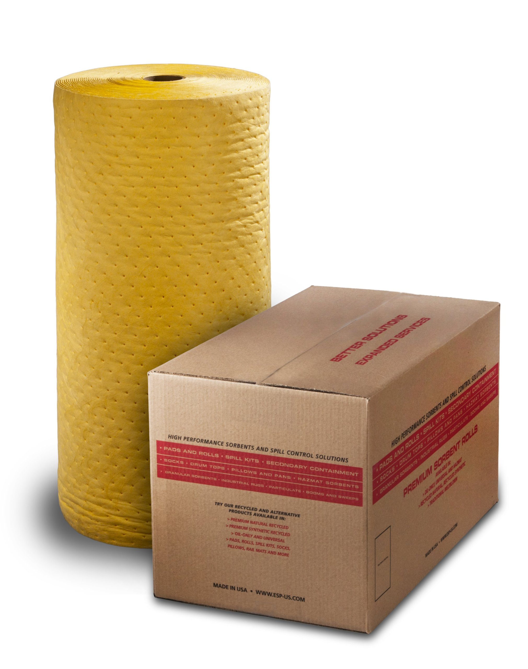 ESP 1AMYRL Airmatrix Polypropylene Heavy Weight Chemical Hazmat Absorbent Laminated Roll, 150' Length x 28'' Width, Yellow by ESP (Image #1)