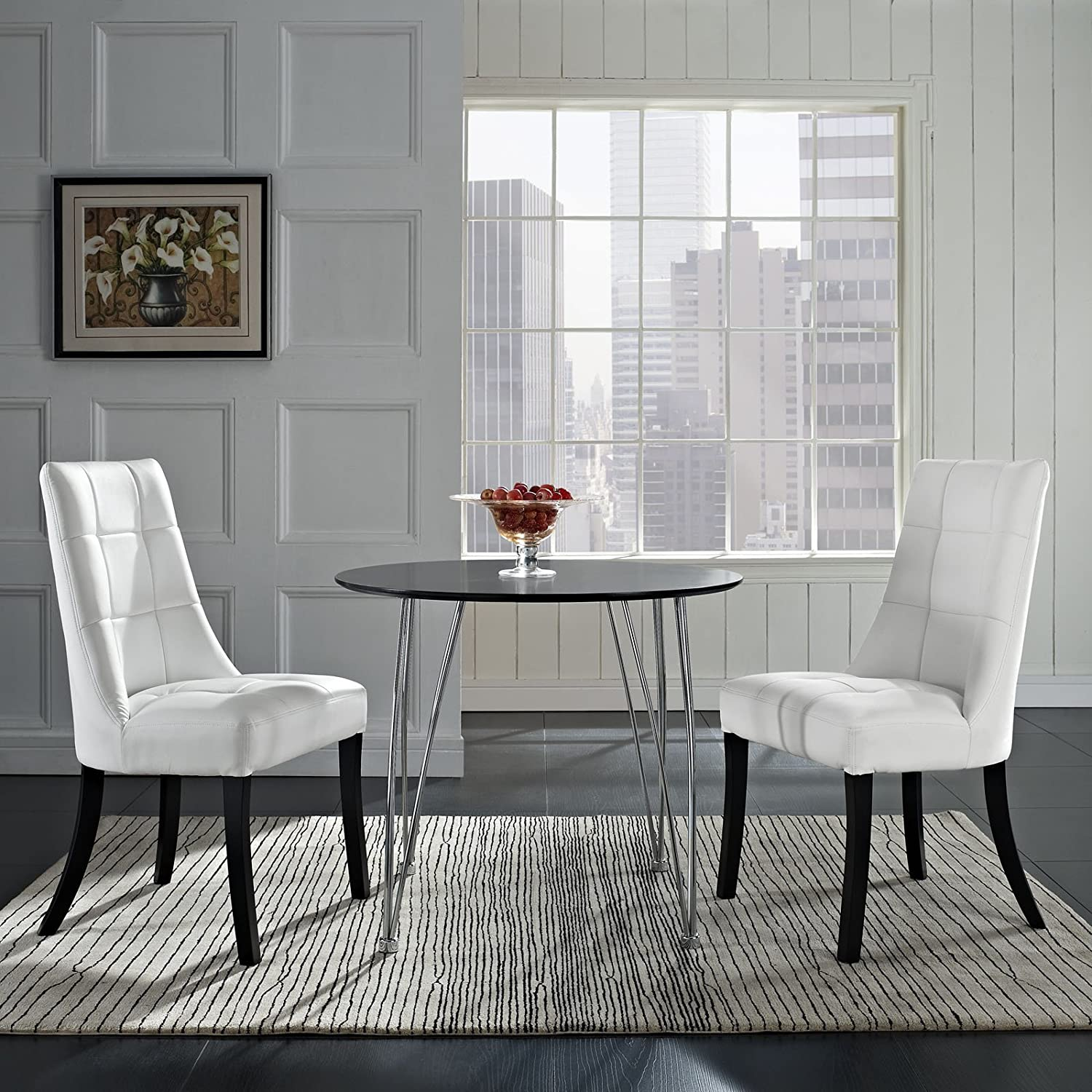Modway Noblesse Modern Tufted Faux Leather Upholstered Two Kitchen and Dining Room Chairs in White