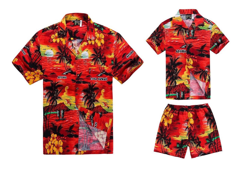 dcbef7ed Matching Father Son Hawaiian Luau Outfit Men Shirt Boy Shirt Shorts Red  Sunset at Amazon Men's Clothing store: