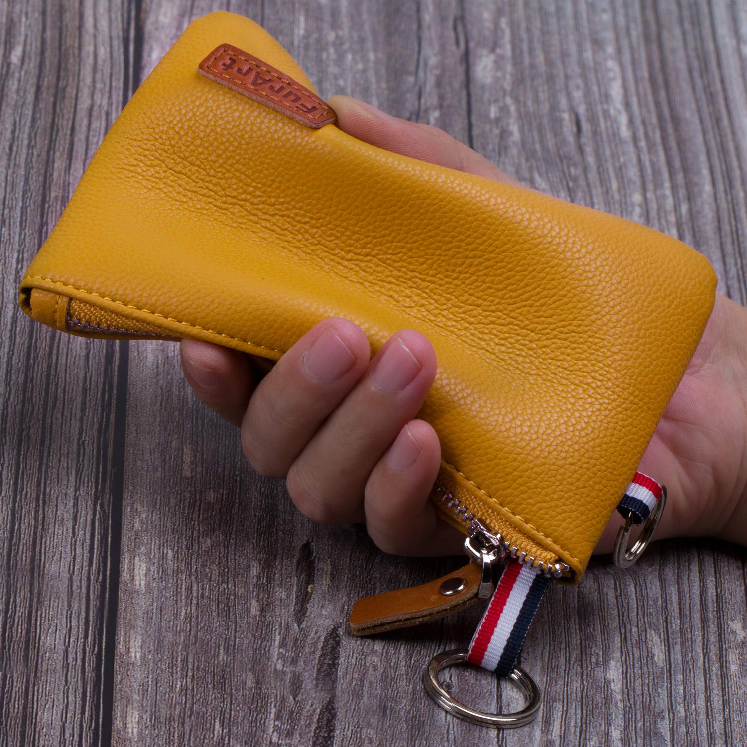 Inner Pocket Soft Coin Pouch FurArt Genuine Leather Coin Purse Dual Rings Change Purse with Zipper Mini Size