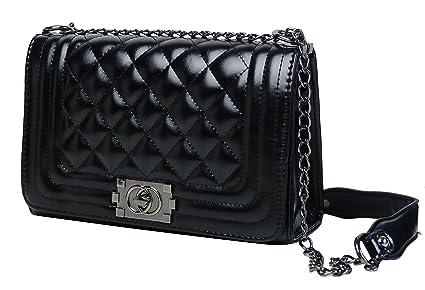 Sassyclassy Designer Handtasche mit Rautenstepp aus PU Leder