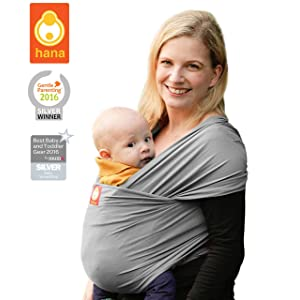Hana standard BAMBOO Baby Wrap: Light, lush and breathable baby slings | BAMBOO-Cotton-Elastane | FREE SHIPPING (Slate)