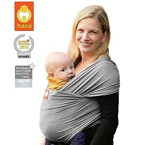 Hana standard BAMBOO Baby Wrap: Light, lush and breathable baby slings | BAMBOO-Cotton-Elastane | FREE SHIPPING (Slate)