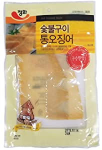 Roasted Squid Snack (4 Pack), Dried Jerky, Strips, SPICY / Grilled / BBQ / SMOKED, Product of Korea, (Smoked)