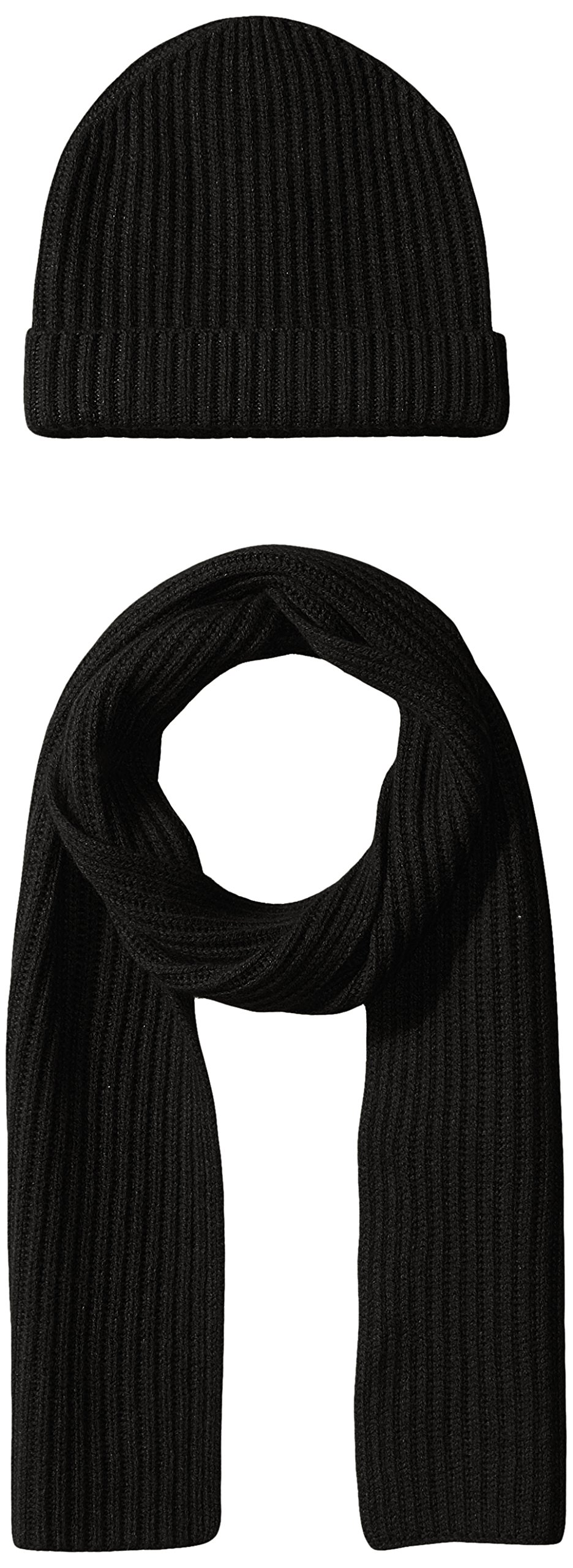 Williams Cashmere Men's 2pc Chunky Hat and Solid Rib Scarf, Black, One Size