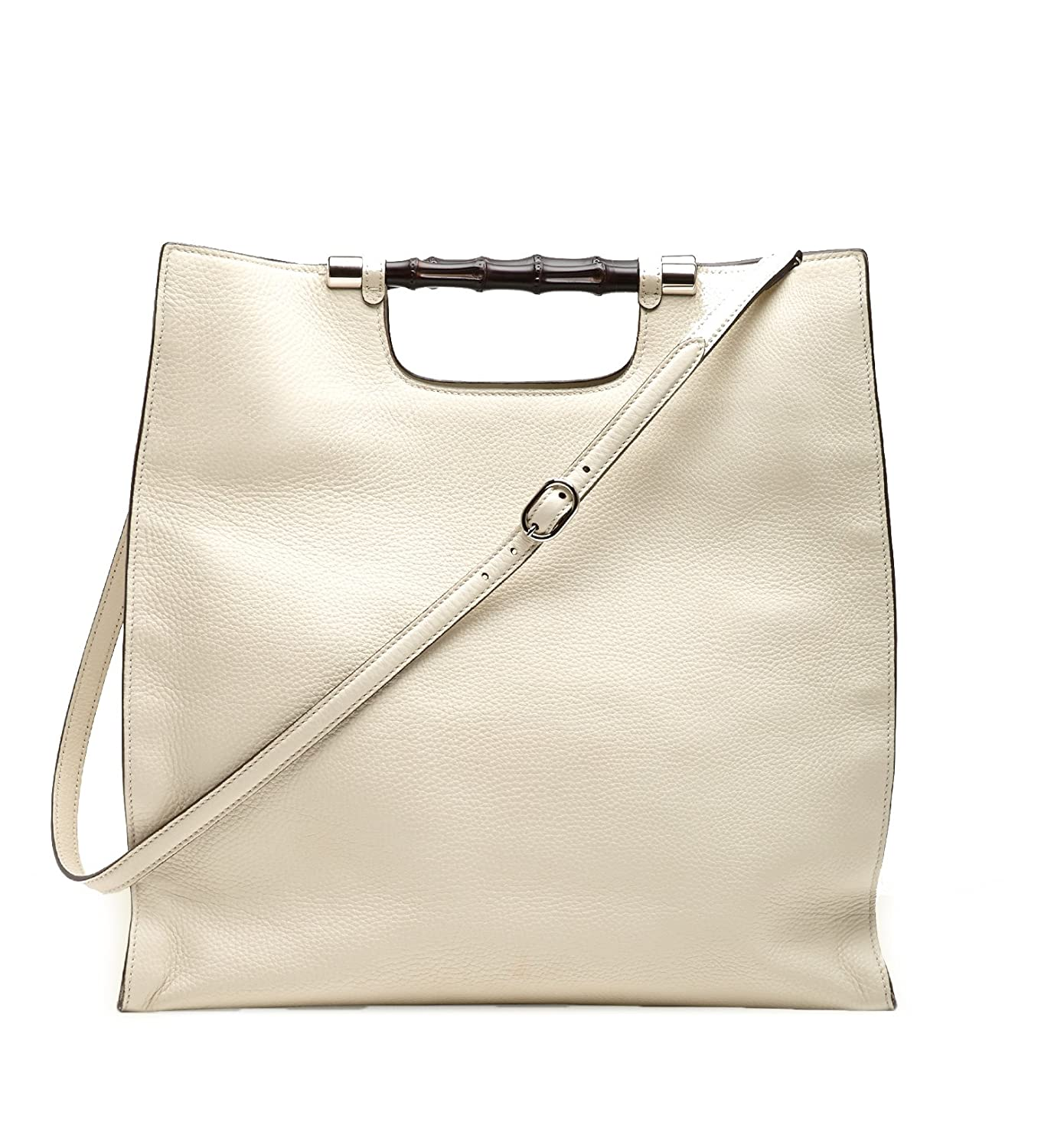 129d32b908975 Amazon.com  Gucci Bamboo Daily Leather Tote Handbag 370828 9022 (Off-White)   Shoes