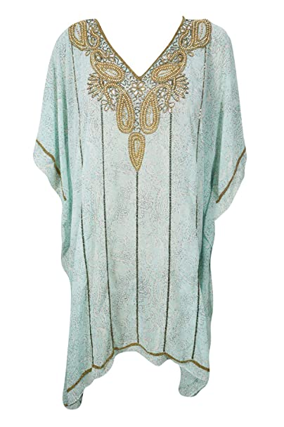 fa3a8f479d Mogul Interior Women Caftan Dress Sky Blue Sequin Work Printed Kimono  Kaftan One Size: Amazon.co.uk: Clothing