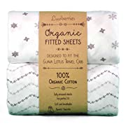 Guava Lotus Travel Crib Sheets (Set of 2) - 100% Organic Cotton Crib Sheets, Baby and Toddler, Fitted Crib Sheets, for Boys & Girls (for The New 4 TAB Mattress ONLY)