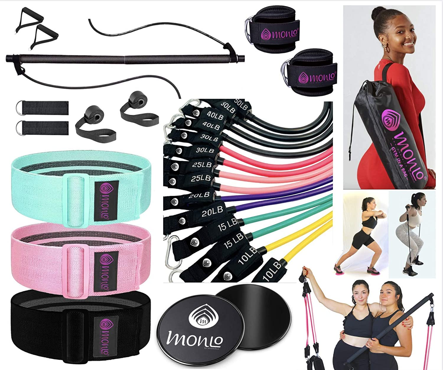 - Gym in A Bag - Bodygym Core System Portable Home Gym - Resistance Trainer All-in-One Resistance Bands + Bar Kit, Pairs of Door Anchor, Ankle Strap, Discs + Bag