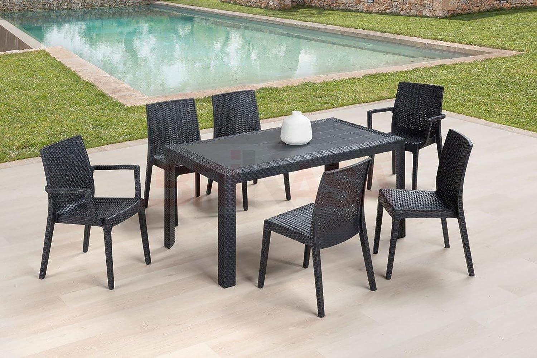 Juego de jardín con mesa 4 sillas y 2 sillones Ibiza, marrón ...