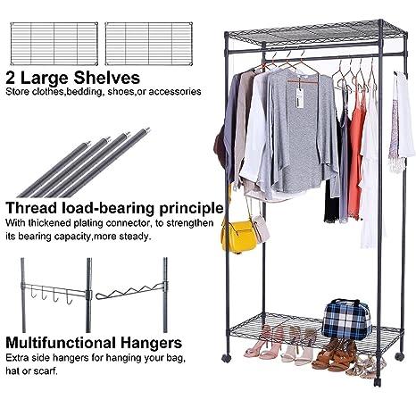 Amazon.com: Foshin - Perchero para ropa, estantes ajustables ...