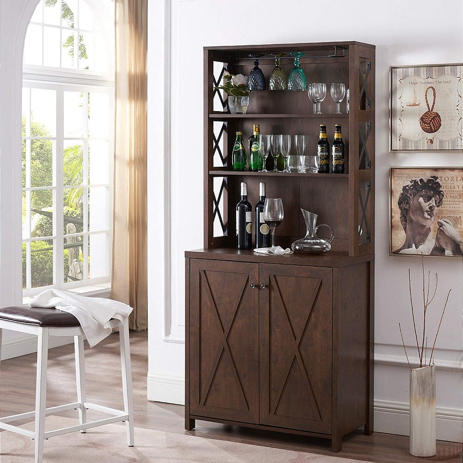 Elegant Bar Cabinet   Kitchen Cabinet with Microwave Stand (Mahogany)