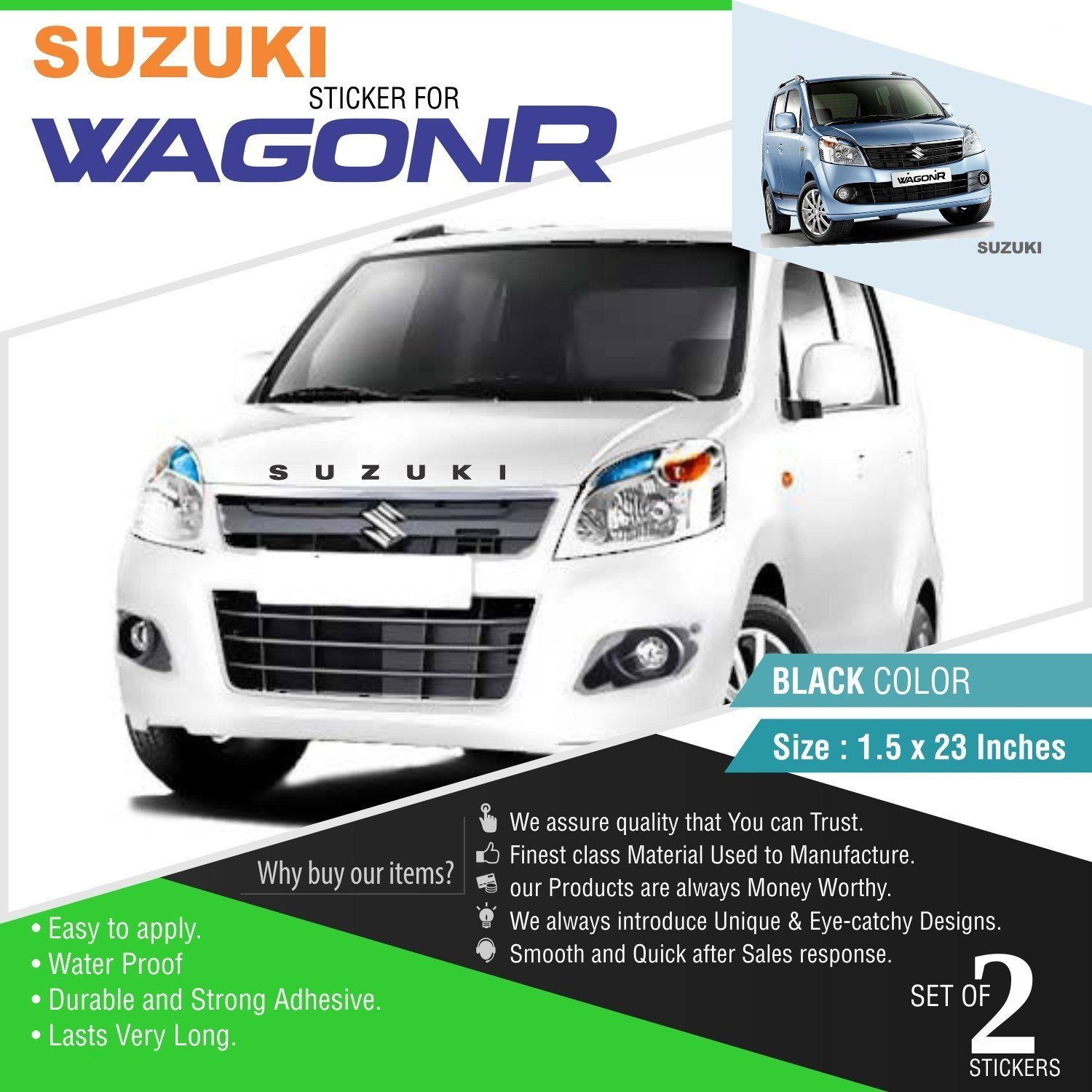 Cvanu front and rear stylish car sticker for suzuki wagonr c18 black pack of 2 amazon in car motorbike