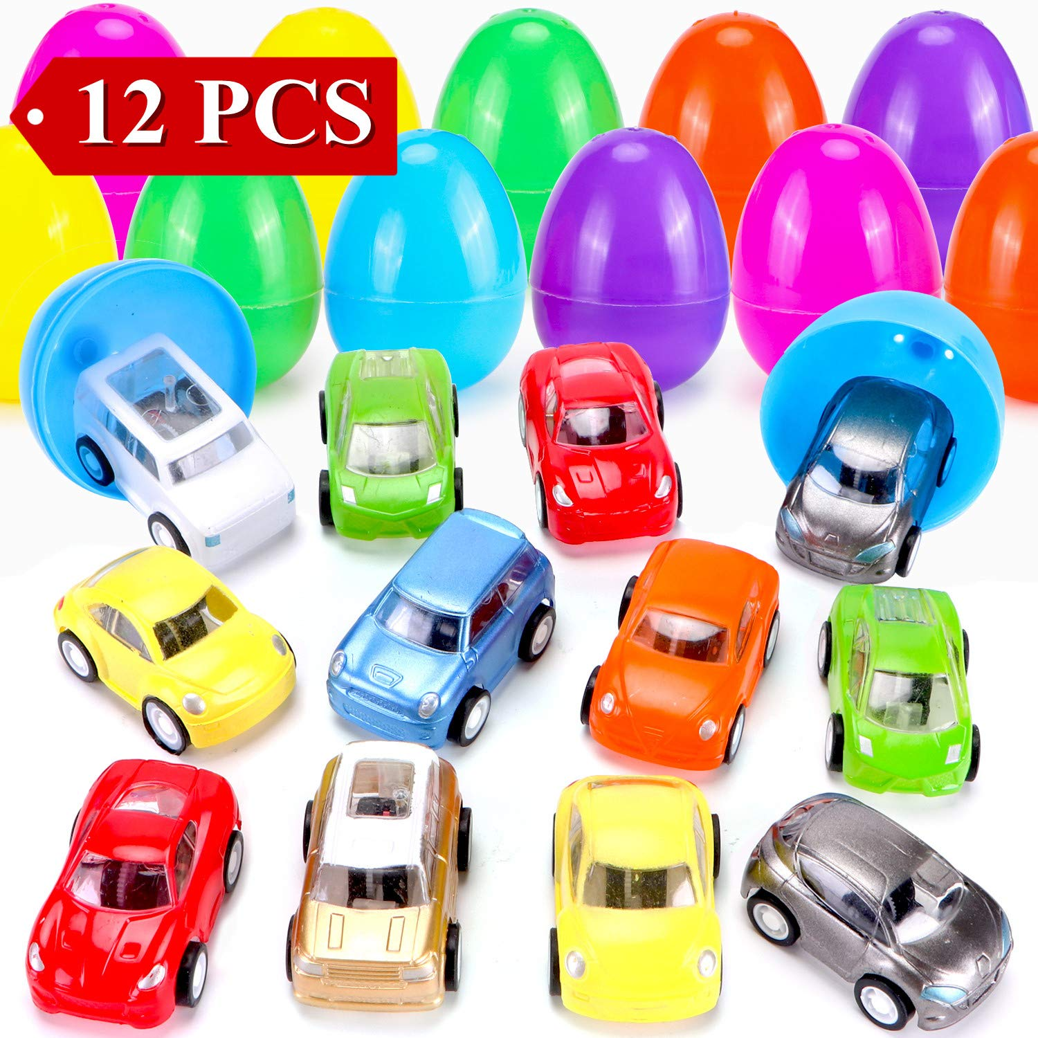 12 Pcs Filled Easter Eggs with Toy Cars,3.15''-Easter Pary Favor-Plastic Prefilled Eggs with Mini Pull Back Vehicles Toys for Toddlers