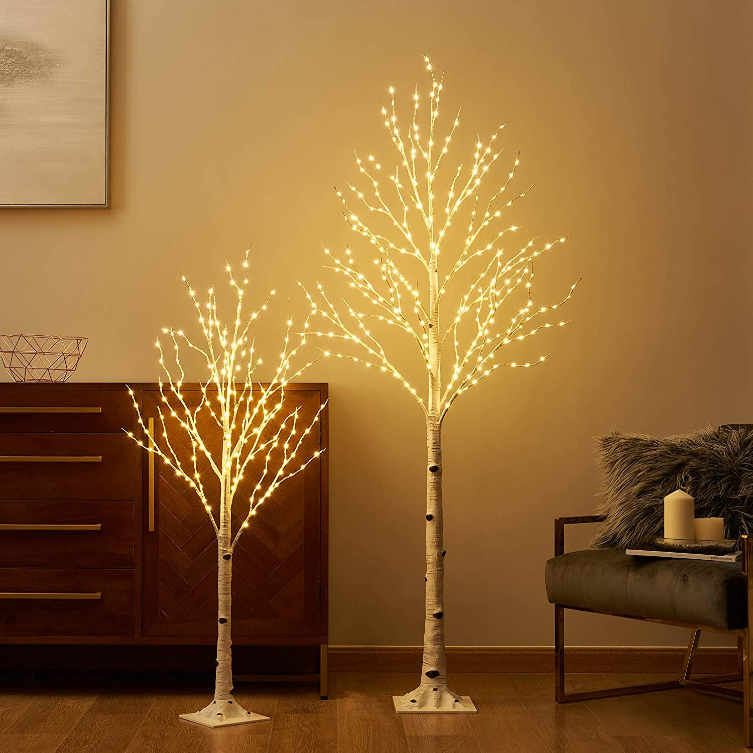 LITBLOOM Lighted Birch Twig Tree with Fairy Lights 4FT 200LED 6FT 330LED Warm White for Indoor Outdoor Home Christmas Decoration