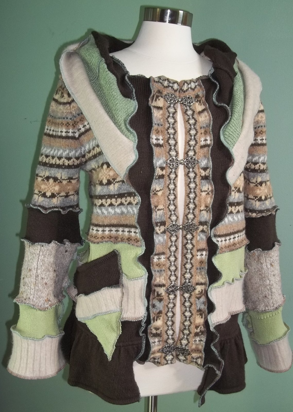 Women's Sweater Hoodie L Green Brown Pointed Hood by DiCreations
