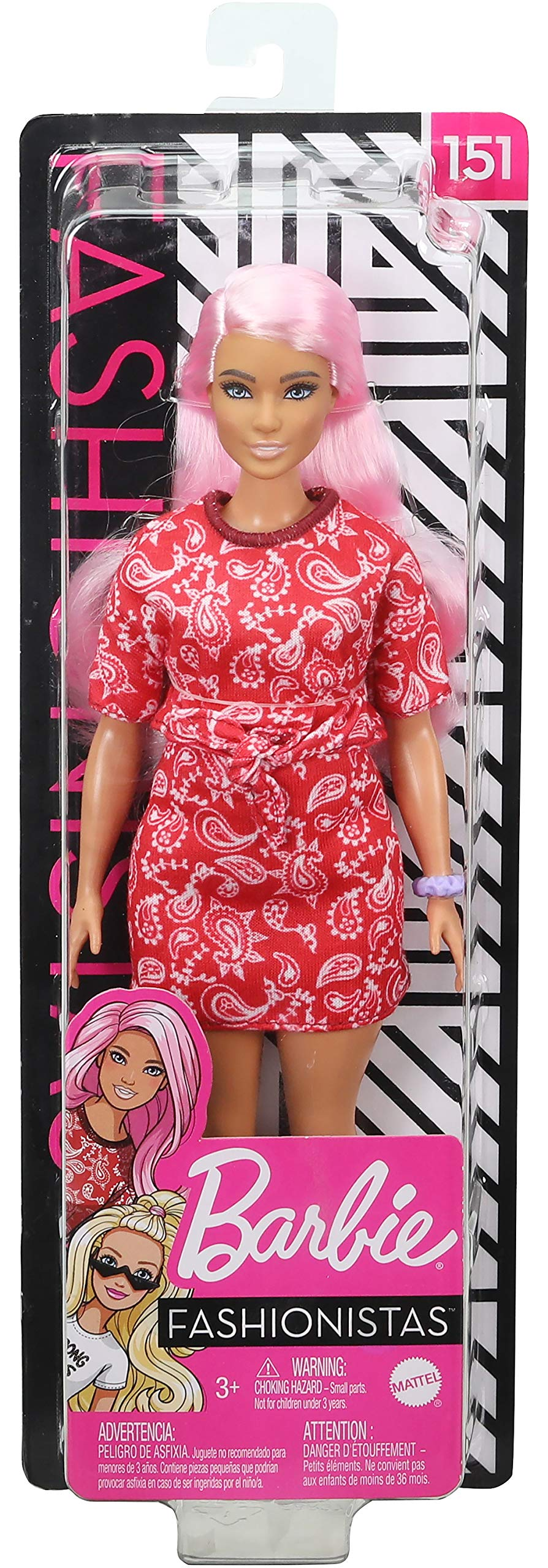 Pink Booties /& Sunglasses Toy for Kids 3 to 8 Years Old Barbie Fashionistas Doll #140 with Long Brunette Hair Wearing Mouse-Print Dress