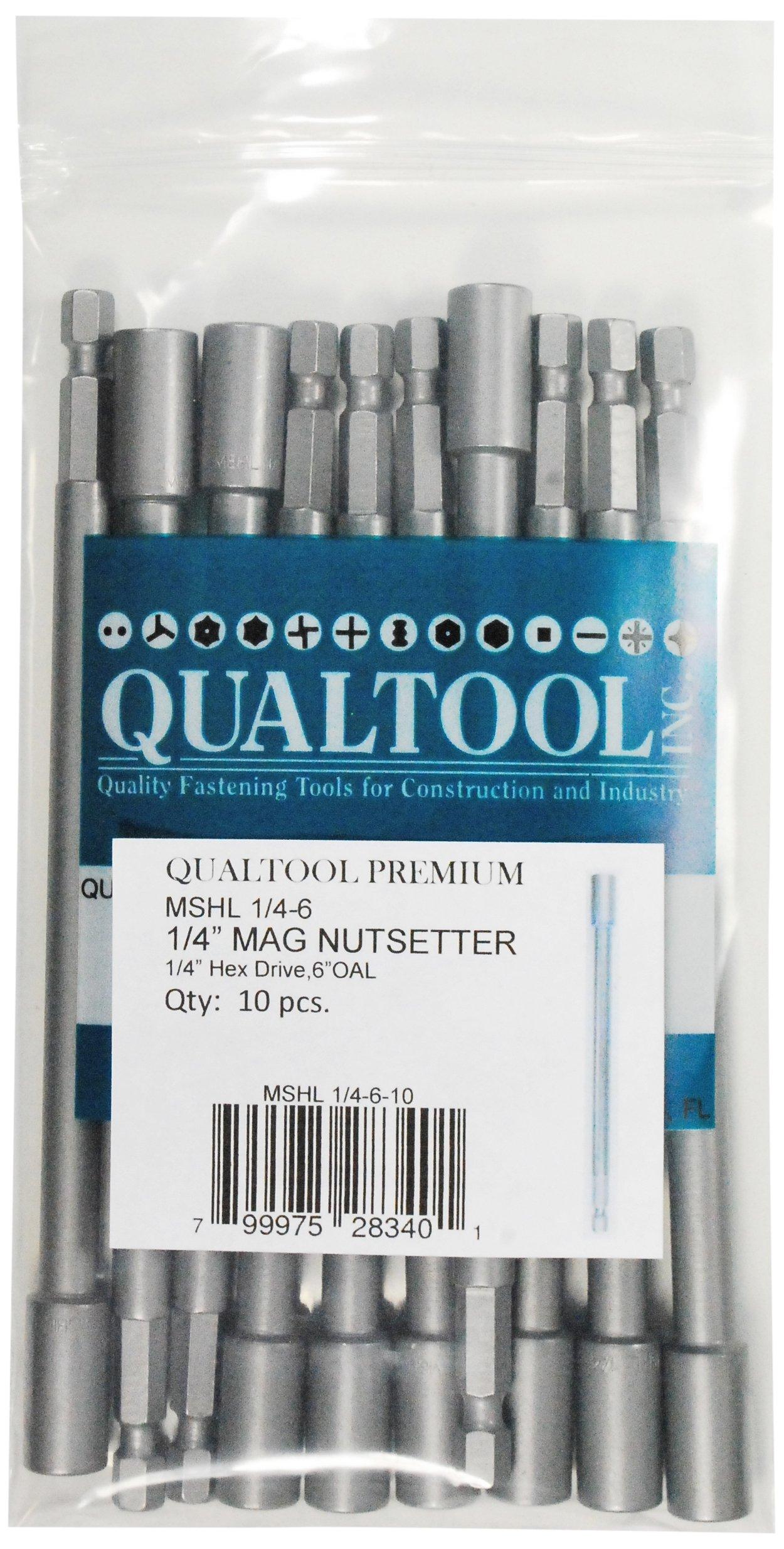 Qualtool Premium MSHL1/4-6-10 Magnetic 1/4-Inch Hex Extra Long Nutsetter, 10-Pack by Qualtool Premium