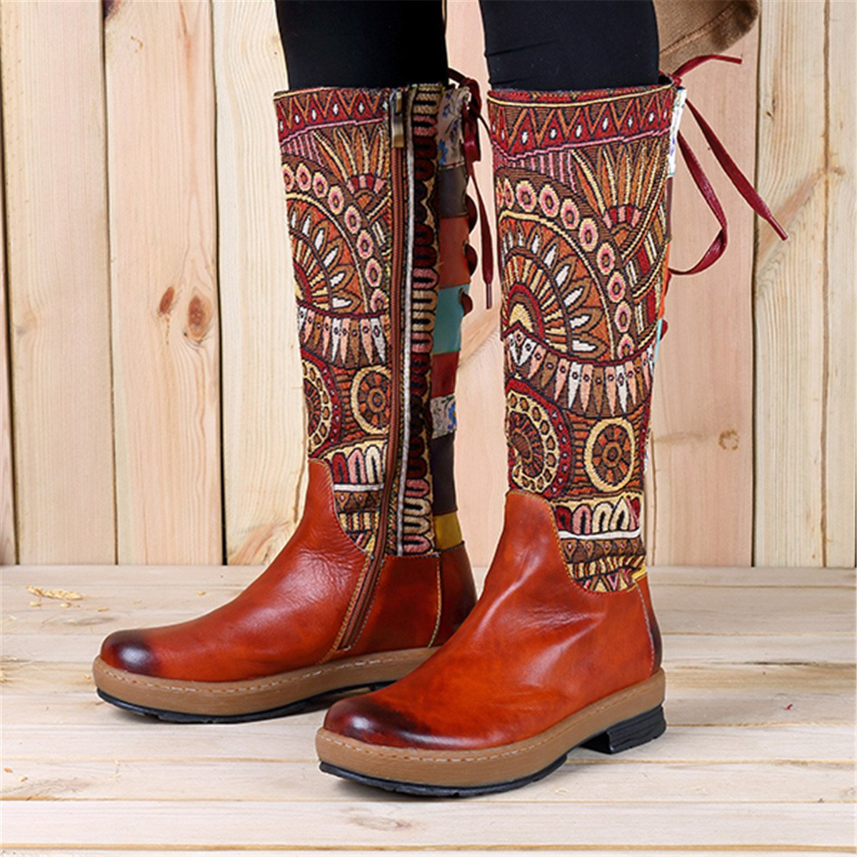 e4759c47d7f5b Socofy Leather Knee Boots Womens Knee-High Ankle Riding Boots Ladies Autumn  Winter Warm Over Knee High Boots Zip Low Flat Heel Long Boots Bohemian ...