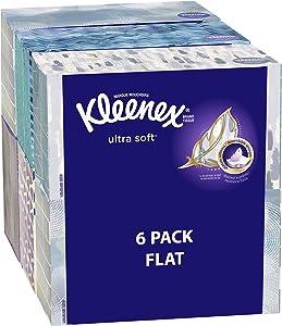Kleenex Ultra Soft Facial Tissues, Medium Count Flat, 170 ct, 6 Pack. Designs May Vary
