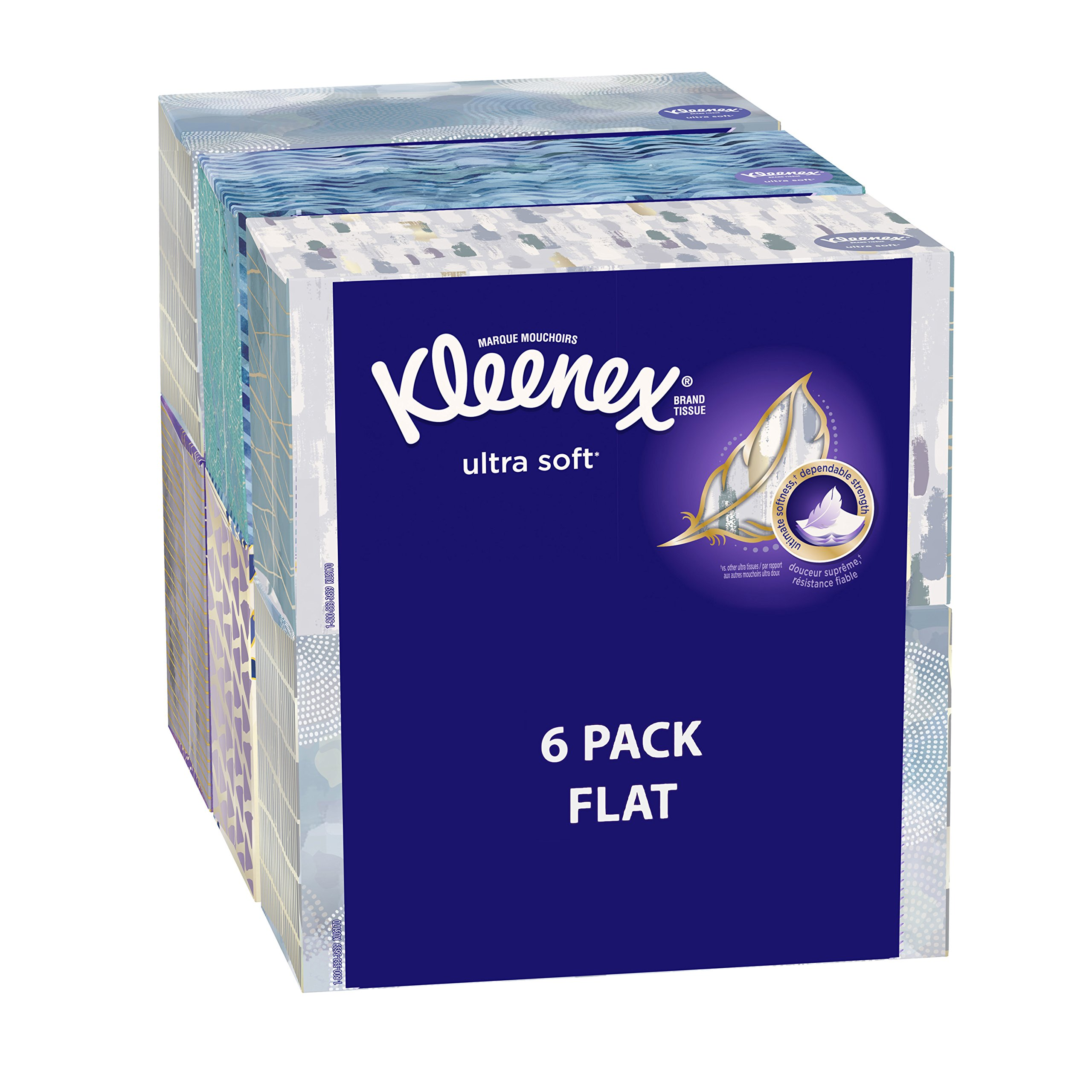 Kleenex Ultra Soft Facial Tissues, Medium Count Flat, 170 ct, 6 Pack.