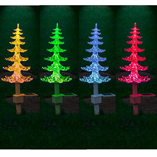 solar powered colour changing christmas tree with lights xmas - Solar Christmas Tree