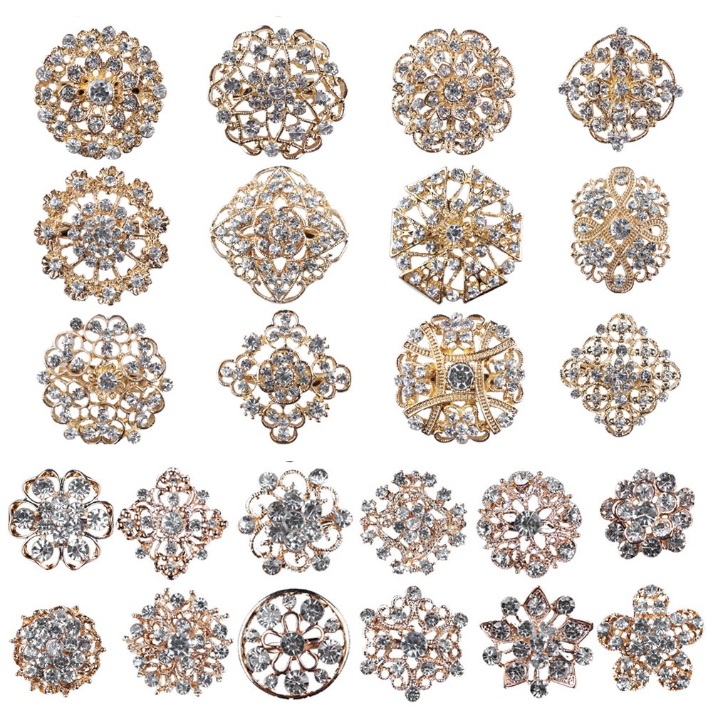Mutian Fashion Lot 24pc Clear Rhinestone Crystal Flower Brooches Pins MF-B24MG