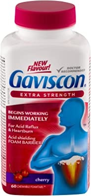 Gaviscon Extra Strength Chewable Foamtabs Cherry, Long-lasting Acid Reflux and Heartburn Relief, 60 Ct