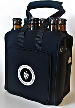 Six (6) Pack Craft Beer Carrier, Neoprene Six Pack Caddy With Bottle Opener, Extra Thick Insulated Bottle Holder Keeps Drinks Cold~ Beer Carrier ~ Beer Is A Journey Six Pack Carrier