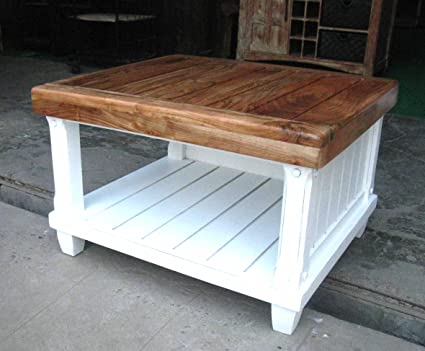 Rancho Teak Wood White Painted Coffee Table Furniture Center