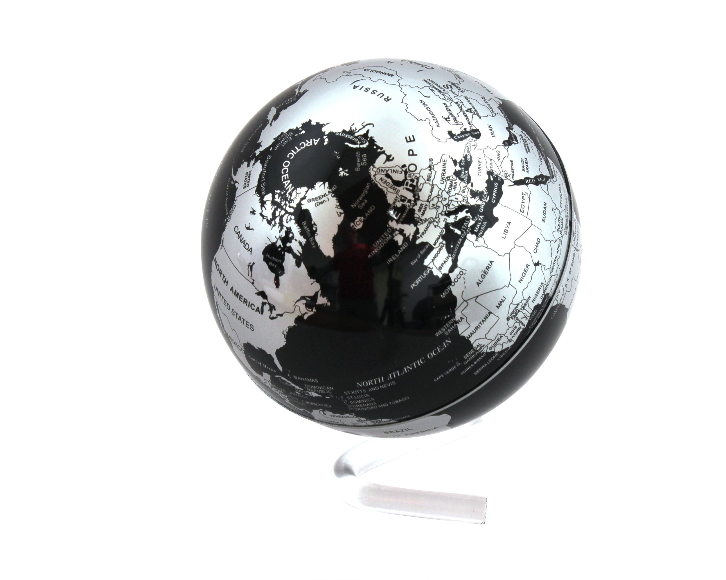Self Rotating Globe - Auto Spinning Desk Rotary Globe with Color Changing LED- Revolving Globe - World, Planet Earth Globe Sphere - Home, Office Desktop Decoration - Educational (Black/Silver, 4'')